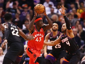 Toronto Raptors forward Pascal Siakam (43) drives to the basket against the Phoenix Suns in the first half at Talking Stick Resort Arena.