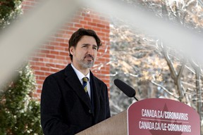 Prime Minister Justin Trudeau attends a news conference at Rideau Cottage as efforts continue to help slow the spread of coronavirus disease (COVID-19) in Ottawa, Ontario, Canada March 27, 2020.