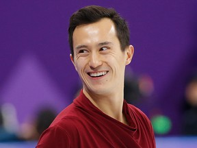 In this Feb. 17, 2018., Patrick Chan of Canada during warm-up before his performance in the figure skating men's free skate in Gangneung, South Korea, at the 2018 Winter Olympics.