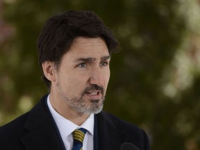 Prime Minister Justin Trudeau addresses Canadians on the COVID-19 pandemic from Rideau Cottage in Ottawa on Friday, March 27, 2020.