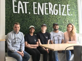 The Freshii Beaches team members who will be make 120 salads for the vulnerable on Saturday, from left, Matthew Wood, Rinu Jose, Natasha Grey, Amanuel Gebeyehu, and owner Libby Garg.