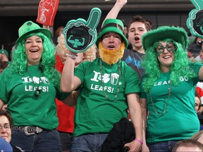 Fans celebrate St. Patrick's Day during the Ottawa Senators and Toronto Maple Leafs NHL game at Scotiabank Place on March 17, 2012 in Ottawa, Ontario, Canada.  (Jana Chytilova/Freestyle Photography/Getty Images)