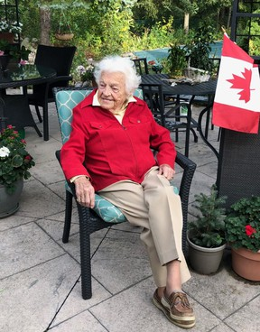 Hurricane Hazel McCallion, 99, is keeping busy while staying at home during the COVID-19 crisis. (supplied photo)