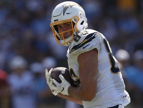Chargers tight end Hunter Henry makes a catch against the Colts during first half NFL action at Dignity Health Sports Park in Carson, Calif., on Sept. 8, 2019.