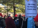 Teachers march at Queen's Park in Toronto on Thursday