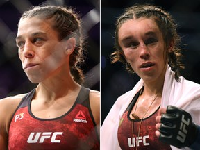 MMA fighter Joanna Jedrzejczyk suffered a hematoma (right) during her fight against Zhang Weili at UFC 248 on March 7, 2020. (Getty Images)