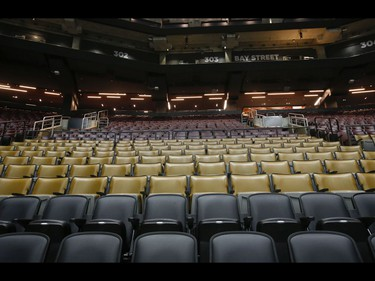 Inside the Scotiabank Arena - the NHL and NBA have suspended game play as the COVID-19 Coronavirus has been deemed a pandemic. Arenas will remain dormant and especially Seat 19 in each arena in Toronto on Thursday March 12, 2020. Jack Boland/Toronto Sun/Postmedia Network