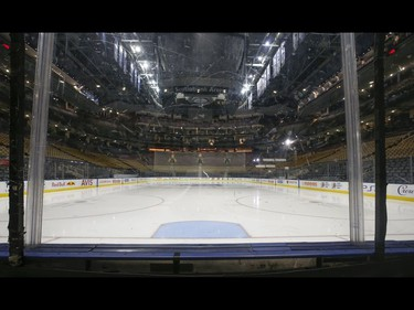 Inside the Scotiabank Arena it was supposed to be game day untill the NHL suspended operations - along with other leagues - as the Covid-19 Coronavirus pandemic takes hold throughout the world. (Pictured) Right behind the net and the clean slate of ice  in Toronto on Thursday March 12, 2020. Jack Boland/Toronto Sun/Postmedia Network
