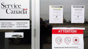 A Service Canada centre in Brantford. All of the in-person centres were closed after safety concerns by workers.