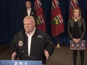 Ontario Premier Doug Ford responds to a question during his daily update regarding COVID-19 at Queen's Park in Toronto on Saturday, April 25, 2020.