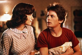 Lorraine (Lea Thompson) and Marty (Michael J. Fox) in a scene from Back to the Future.