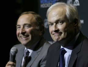 Don Fehr (front), head of the NHL Players Association, and NHL commissioner Gary Bettman have been speaking by phone almost daily during the coronavirus pandemic.