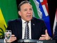 Quebec Premier Francois Legault is pictured during a news conference after a meeting with premiers in Toronto on Dec. 2, 2019.
