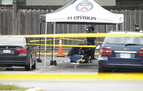Ontario's Special Investigations Unit is probing the deadly police-involved shooting of a 30-year old man in the parking lot of a Best Western Plus hotel next door to Toronto Police 31 Division on Norfinch Dr. in North York on Thursday, April 30, 2020.