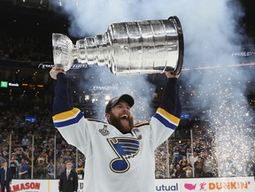 Alex Pietrangelo of the St. Louis Blues celebrates with the Stanley Cup.