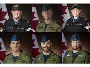 Handout image shows a member of Canadian Armed Forces (CAF) who was killed and 5 others missing after a Canadian military CH-148 Cyclone helicopter crashed in the Mediterranean Sea off the coast of Greece. (Top L-R) Sub-Lieutenant Matthew Pyke, Master Corporal Matthew Cousins, Sub-Lieutenant Abbigail Cowbrough, (Bottom L-R) Captain Kevin Hagen, Captain Maxime Miron-Morin, Captain Brenden Ian MacDonald.