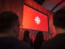 The CBC logo is projected onto a screen during the CBC's annual upfront presentation at The Mattamy Athletic Centre in Toronto, Wednesday, May 29, 2019.