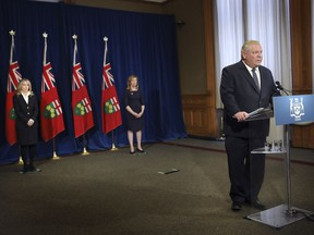 Ontario Premier Doug Ford answers questions at a COVID-19 briefing at Queen's Park in Toronto on Monday, May 4, 2020.
