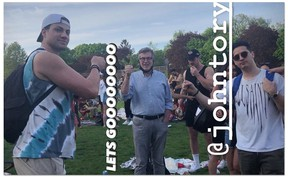 Social media image of Toronto Mayor John Tory at Trinity Bellwoods Park on Saturday, standing less than six feet from others and wearing his facemask around his neck — an act Toronto top doctor Eileen de Villa specifically advised against earlier this week. Tory has since apologized.