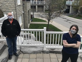 Pickering Deputy Mayor Kevin Ashe, who recently tested positive for COVID-19, and his daughter Keara Monaghan, a personal support worker at coronavirus-plagued Orchard Villa Long Term-Care Home, wear masks and practice social distancing while in isolation.