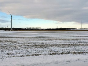 Two completed turbines and one partially complete pillar for the Nation Rise Wind Farm seen on January 7, 2020 near Crysler, Ont.