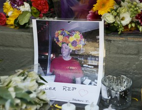 Murder victim Peter Elie, 52, is remembered with a memorial at a local bar, where he used to DJ, in the gay village on Saturday, May 16, 2020.