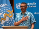 Tedros Adhanom Ghebreyesus, Director General of the World Health Organization (WHO), attends the virtual 73rd World Health Assembly (WHA) in Geneva, Switzerland, May 19, 2020.