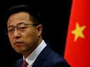 Chinese Foreign Ministry spokesman Zhao Lijian attends a news conference in Beijing, April 8, 2020.