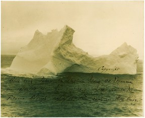 This photo courtesy of RR Auction shows a rare original 9.75 x 8 photo of a uniquely-shaped iceburg photographed by the captain of the Leyland Line steamer S. S. Etonian two days before Titanic collided with it.