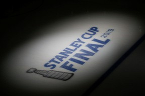 FILE PHOTO: May 29, 2019; Boston, MA, USA; A general view of the Stanley Cup logo before a game between the Boston Bruins and the St. Louis Blues in game two of the 2019 Stanley Cup Final at TD Garden. Mandatory Credit: Greg M. Cooper-USA TODAY Sports/File Photo ORG XMIT: FW1