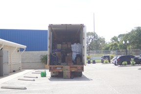 Blue Jays gear is loaded on to a moving van for the trip north to the Rogers Centre from Dunedin, Fla., this week.