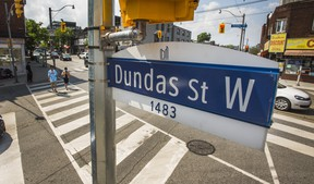 A street sign for Dundas St. W. in Toronto, Ont. on Wednesday, June 10, 2020. Henry Dundas opposed the abolition efforts of people like William Wilberforce in the British Parliament. Should the street be renamed?
