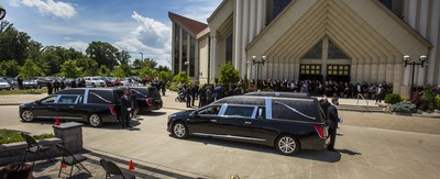 The four hearses with the coffins of mother and children Karolina, Klara, Lilianna and Mila Ciasullo outside of St. Eugene de Mazenod Catholic Church after their funeral in Brampton, Ont. on Thursday June 25, 2020.  The family members were killed in a tragic collision in Brampton on June 18. Ernest Doroszuk/Toronto Sun/Postmedia