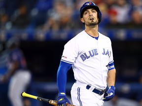 Toronto Blue Jays Randal Grichuk looks on after striking out to end the first inning during a MLB game against the Minnesota Twins at Rogers Centre on May 8, 2019 in Toronto.