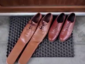 A Romanian cobbler has created size 75 shoes that will enforce social distancing.