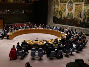 The United Nations Security Council meets about the situation in Syria at United Nations Headquarters in the Manhattan borough of New York February 28, 2020.