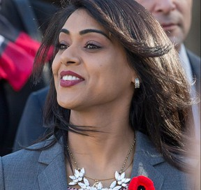 Liberal MP for Waterloo Bardish Chagger at the Liberal Government's swearing-in ceremony at Rideau Hall on Nov. 4, 2015.