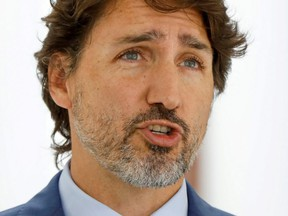Prime Minister Justin Trudeau is pictured at a  news conference at Rideau Cottage in Ottawa on July 13, 2020.