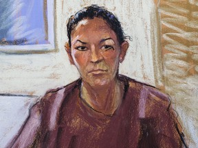 Ghislaine Maxwell appears via video link during her arraignment hearing where she was denied bail for her role aiding Jeffrey Epstein to recruit and eventually abuse of minor girls, in Manhattan Federal Court, in the Manhattan borough of New York City, July 14, 2020 in this courtroom sketch.