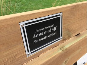 A close-up photo taken on Oct. 2, 2019, of the bench at the memorial area on the Ganatchio Trail dedicated to Windsor assault victim Sara Anne Widholm.