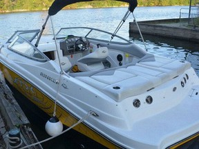 Toronto Police allege a man sexually assaulted two people aboard a yellow and white Rinker power boat (pictured).