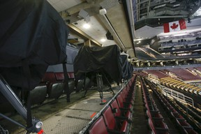 The TV camera bays are all covered up in Toronto on Thursday March 12, 2020.