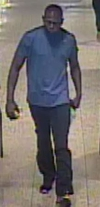 Security camera image of a man wanted in connection with an assault of a 69-year-old man in Sheppard West TTC station on June 20.