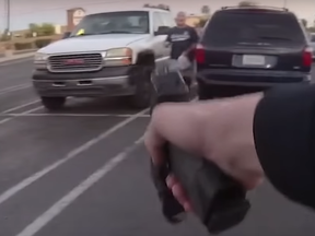 A violent encounter caught on video shows a Pehonix cop was forced to shoot a knife-wielding man who charged at her after threatened to kill her on June 14, 2020.