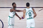 Containing the Celtics' Kemba Walker (left) and Jayson Tatum will be the Raptors' biggest challenge.
