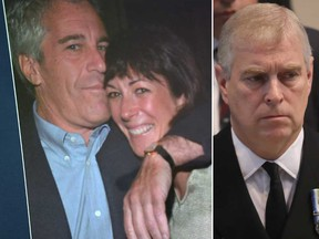 Jeffrey Epstein, left, Ghislaine Maxwell and Prince Andrew are pictured in file photos.