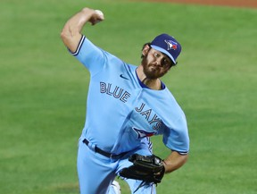 Toronto Blue Jays pitcher Jordan Romano throws a pitch against the Miami Marlins during the eighth inning at Sahlen Field in Buffalo, N.Y., Aug. 11, 2020.