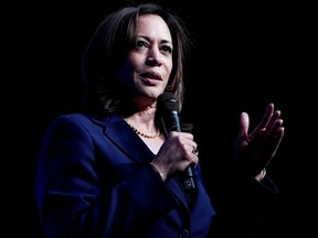 Senator Kamala Harris, Joe Biden's selection as his running mate, appears on stage at a First in the West Event at the Bellagio Hotel in Las Vegas November 17, 2019.