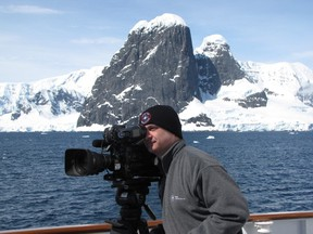 Dr. Mark Terry filming a segment for his documentary on the Antarctic