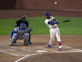 Andrew McCutchen of the Philadelphia Phillies hits a solo home run in the bottom of the third inning against the Toronto Blue Jays during Game 2  of the doubleheader at Citizens Bank Park on Sept. 18, 2020 in Philadelphia, Pa.